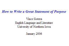 Writing the Statement of Purpose Berkeley Graduate Division